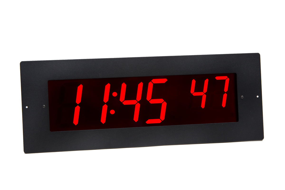 ONT6BKFM:  6 Digit PoE Clock, Red LED, Flush Mounted with Black Aluminum Faceplate