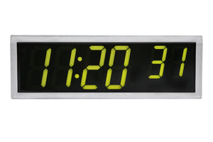6 Digit PoE Clock, Green LED, Stainless Steel Case