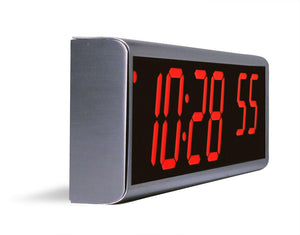 6 Digit PoE Clock, Red LED, Stainless Steel Case