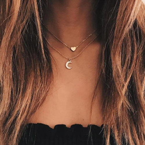 Double Crystal Moon and Heart Necklace