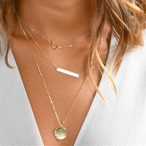 Gold Coin Layered Necklace Set