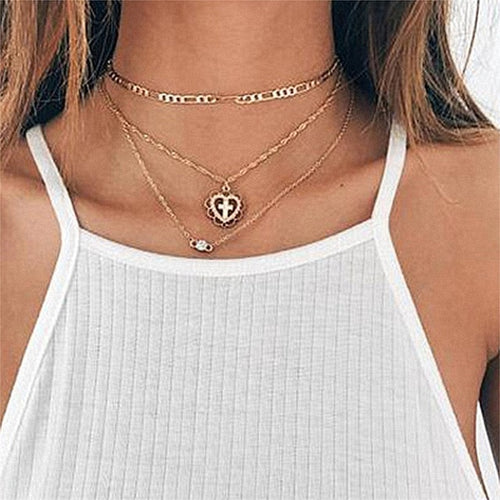 Cross in Heart Multi Layer Necklace