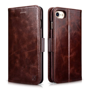 ICARER 2-in-1 Oil Wax Genuine Leather Wallet Phone Case with Stand for iPhone 8/7