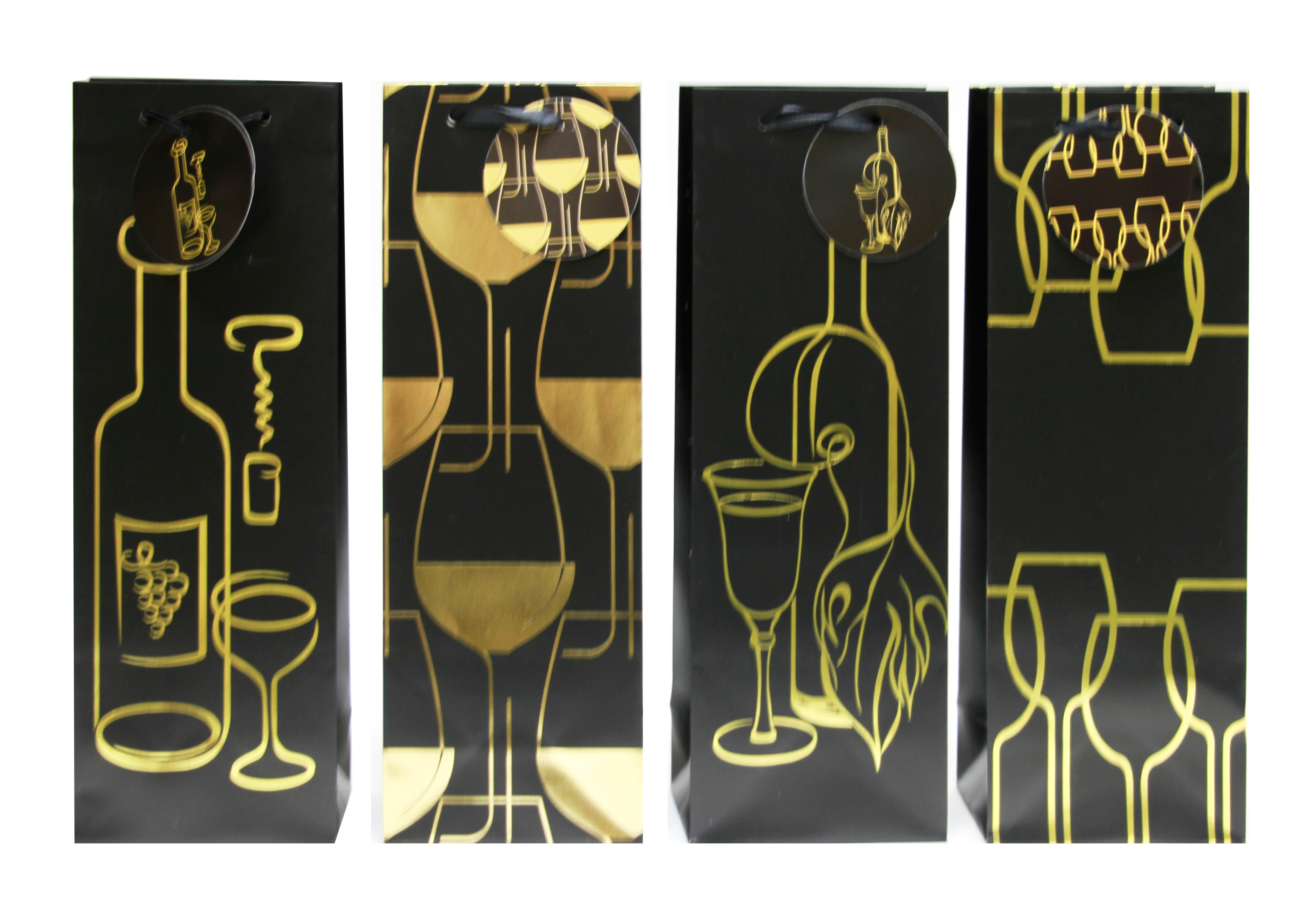 12 CT | 2020 New Wine Bags, Wine Gold Stencil
