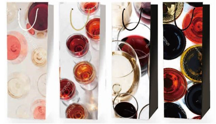 12 CT | Glossy Wine Liquor Bottle Gift Bags 2020 New Wine Bags 4 Designs