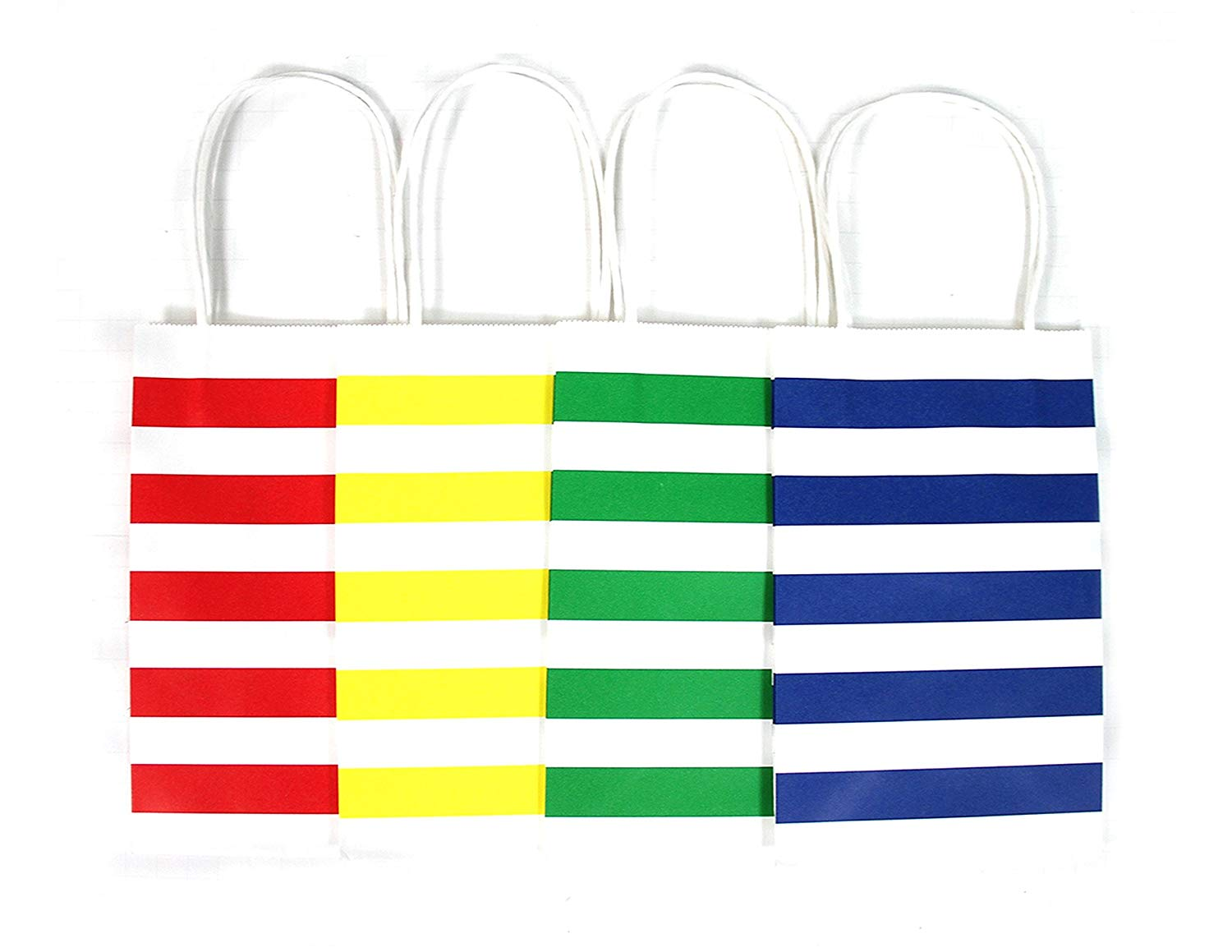 12 CT | Primary Color Stripes Kraft Bags