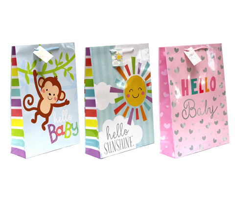 SWEET KISSES GLOSSY BABY GIFT BAGS