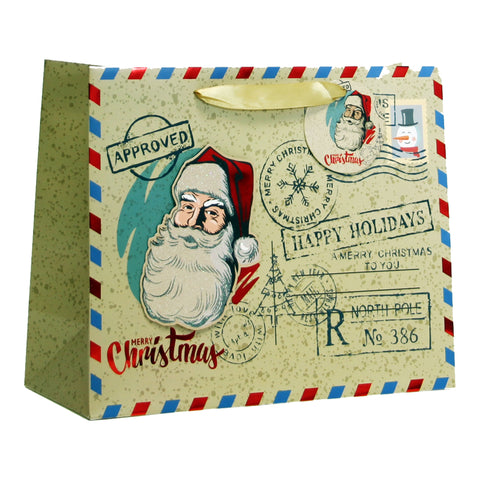 RETRO SANTA XMAS MATTE W/ 3D & HOT STAMP WIDE LARGE CHRISTMAS HOLIDAY GIFT BAGS