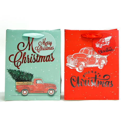 RED TRUCK MEDIUM CHRISTMAS HOLIDAY GIFT BAGS