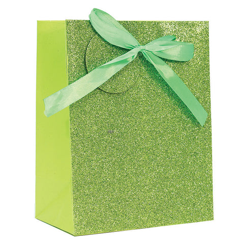 LIME GREEN SPARKLE GLITTER GIFT BAG