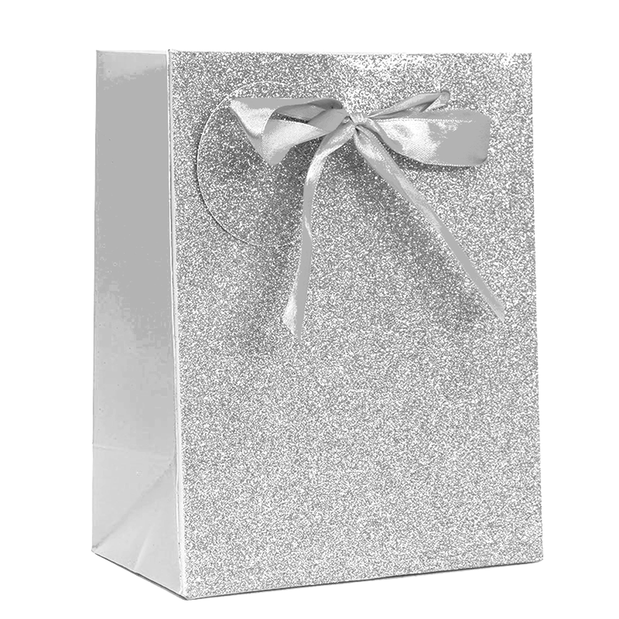 SILVER SPARKLE GLITTER LARGE GIFT BAG