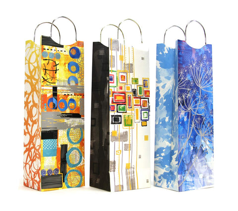 12 CT | Water Color Artwork Liquor Wine Bottle Matte Gift Bags