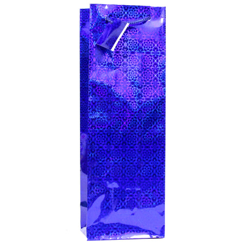 12 CT | Hologram Wine Bottle Gift Bags Assorted Colors