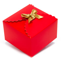 red gift boxes, flower edge gift boxes, large favor gift boxes, scallop edge gift boxes, favor boxes, gift boxes, holiday gift boxes with ribbons, hot stamp premium gift boxes, christmas gift boxes, holiday favor gift boxes, teacher's appreciation week gift boxes, gift boxes in bulk | Gift Expressions