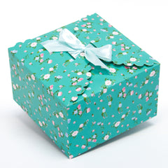 dusty mint floral gift boxes, flower edge gift boxes, large favor gift boxes, scallop edge gift boxes, favor boxes, gift boxes, pastel gift boxes with ribbons, floral pattern gift boxes, baby shower favor gift boxes, wedding favor gift boxes, teacher's appreciation week gift boxes, gift boxes in bulk | Gift Expressions