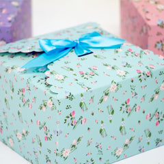 flower edge gift boxes, large favor gift boxes, scallop edge gift boxes, favor boxes, gift boxes, pastel gift boxes with ribbons, floral pattern gift boxes, baby shower favor gift boxes, wedding favor gift boxes, teacher's appreciation week gift boxes, gift boxes in bulk | Gift Expressions