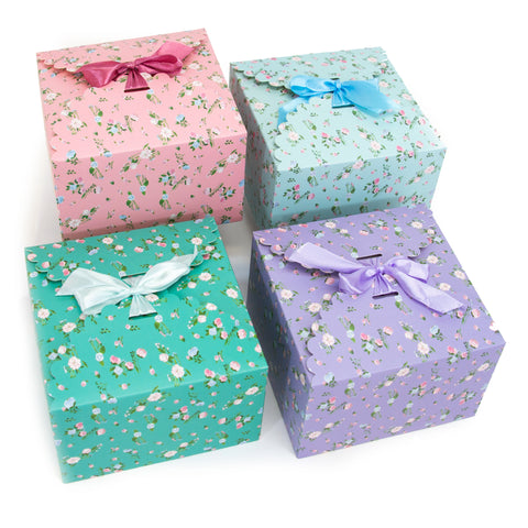 flower edge gift boxes, large favor gift boxes, scallop edge gift boxes, favor boxes, gift boxes, pastel gift boxes with ribbons, floral pattern gift boxes, baby shower favor gift boxes, wedding favor gift boxes, teacher's appreciation week gift boxes, gift boxes in bulk, DIY wedding favor ideas | Gift Expressions