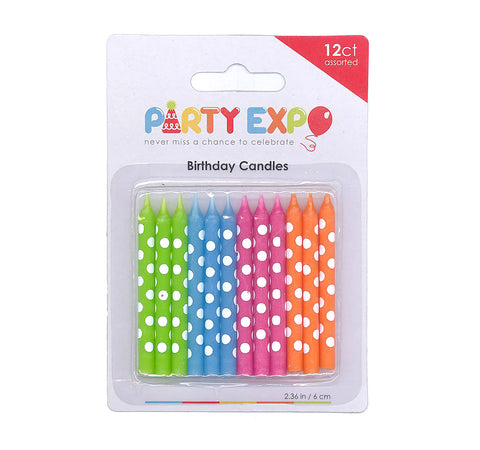 Polka dot candles, Birthday Candles, Neon Candles, Birthday party events - gift expressions