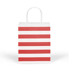 12 CT | Medium Striped Kraft Paper Gift Bags with Handles