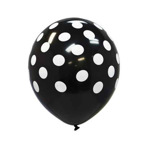 Polka Dot Latex Balloons, Party Balloons, Polka Dot Party Ideas, Polka Dot Theme, Black Polka Dot Balloons - Gift Expressions