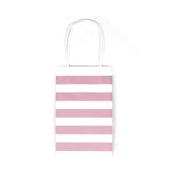 12 CT | Small Striped Kraft Paper Gift Bags with Handles