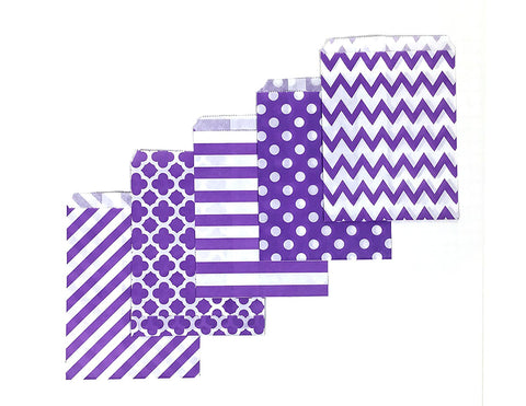 40 CT | Halloween Edition Purple Patterned Treat Bags
