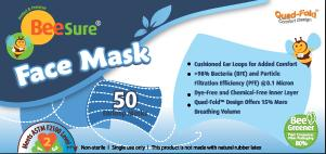 BeeSure ASTM Level 2 Face Masks - Pack of 50 - Teststock.co