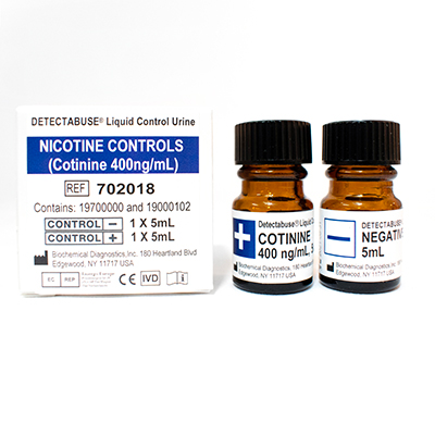 DETECTABUSE Nicotine (COTININE 400ng/ml) Positive & Negative Liquid Urine Controls - 3 Boxes of 2X5ml Vials - Teststock.co