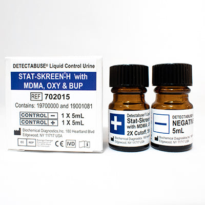 STAT-SKREEN with BUP, MDMA, & OXY 2X Cutoff Positive & Negative Liquid Urine Controls - 2X5ml Vials - Teststock.co