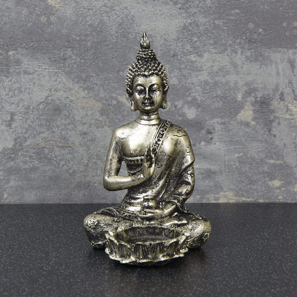 Silver Buddha Candle Holder