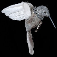 Clip on Silver & White Hummingbird