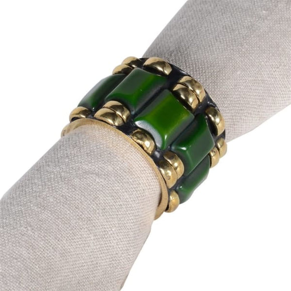 Emerald & Brass Napkin rings s/2