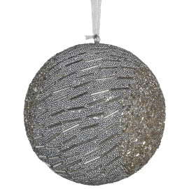 Silver Bead lines bauble