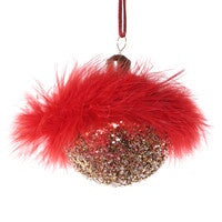 Red Feather & Glitter Bauble