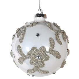 White Onion Bauble  with Glitter Flowers