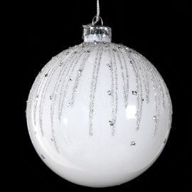 White Glitter & Diamante Bauble