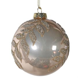 Gold Bauble with Glitter Leaves