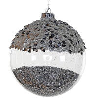 Silver Beaded Glass Bauble