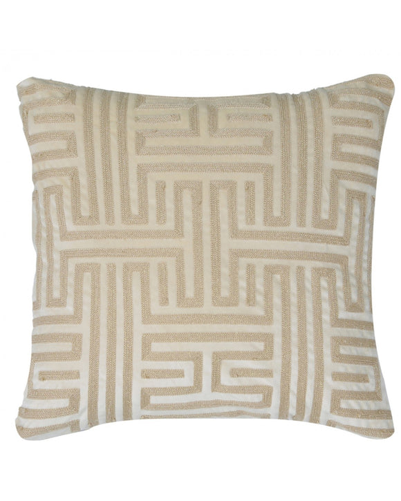 Gold & Beige Geometric Cushion