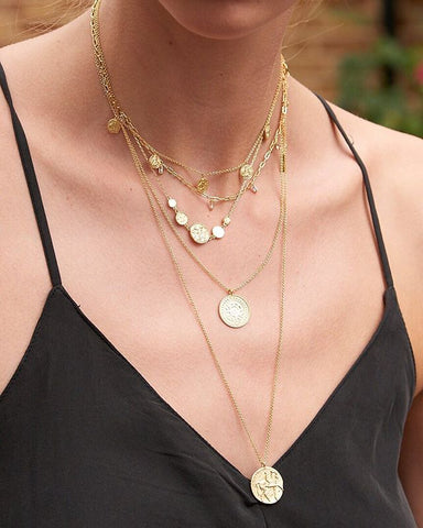 Double Coin Necklace Layering Combination