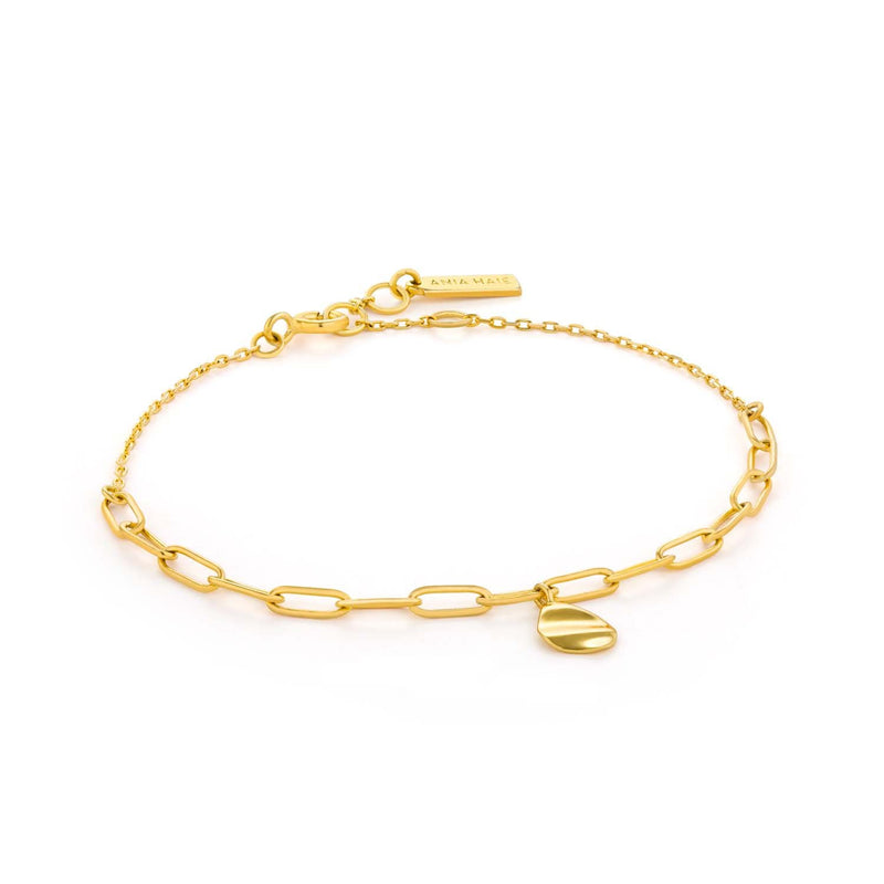 Bracelet: Gold Crush Drop Disc Bracelet by Ania Haie Australia