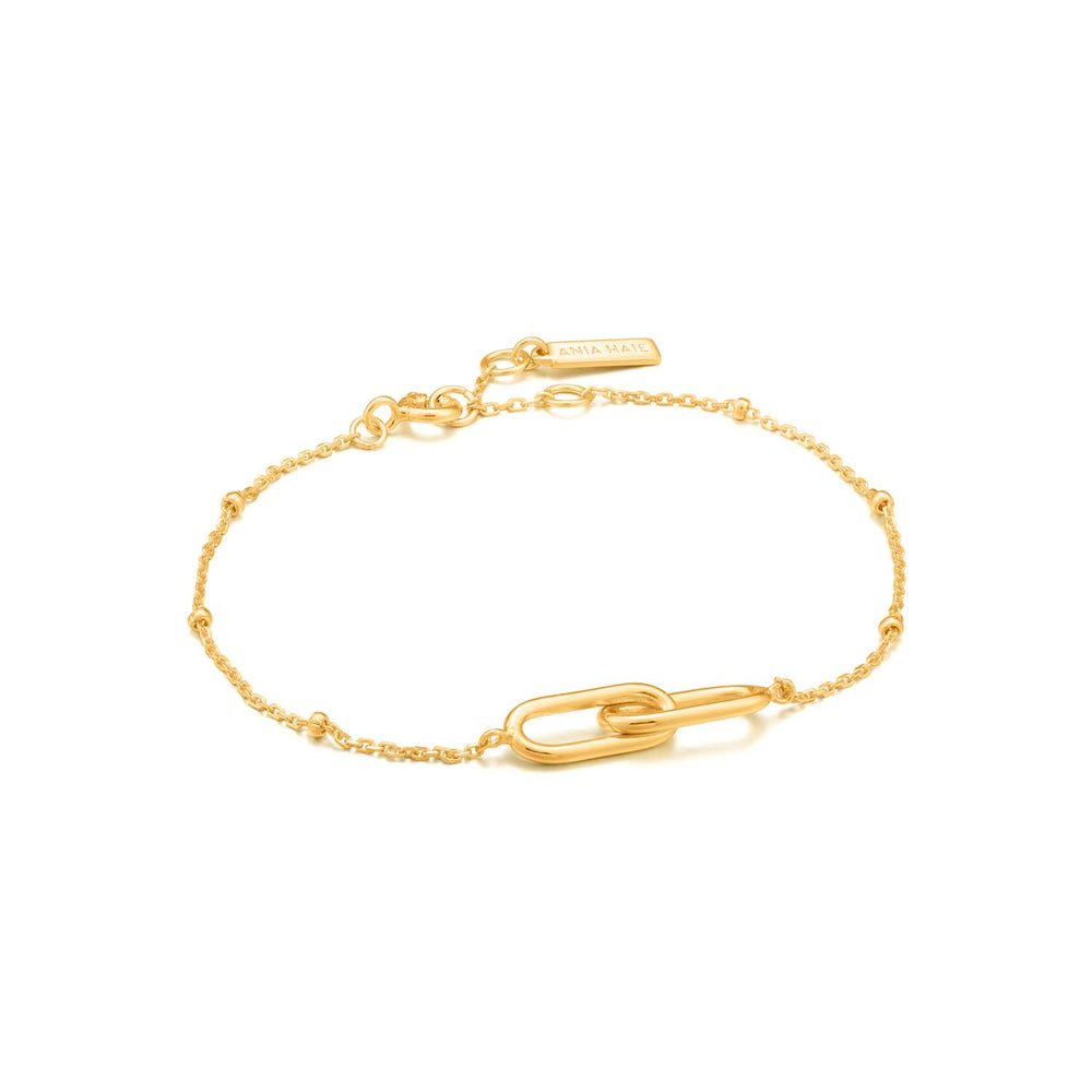 Load image into Gallery viewer, Bracelet: Gold Beaded Chain Link Bracelet by Ania Haie Australia