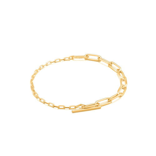 Bracelet: Gold Mixed Link T-Bar Bracelet by Ania Haie Australia