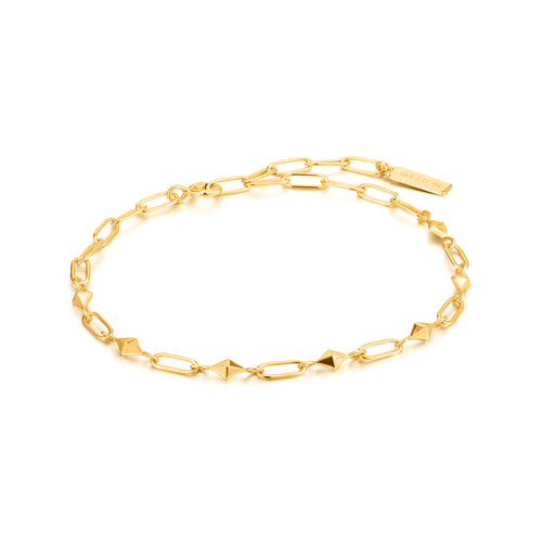 Gold Heavy Spike Bracelet by Ania Haie