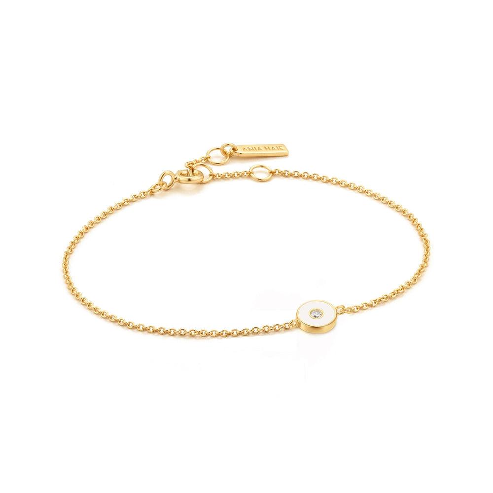Optic White Enamel Disc Gold Bracelet