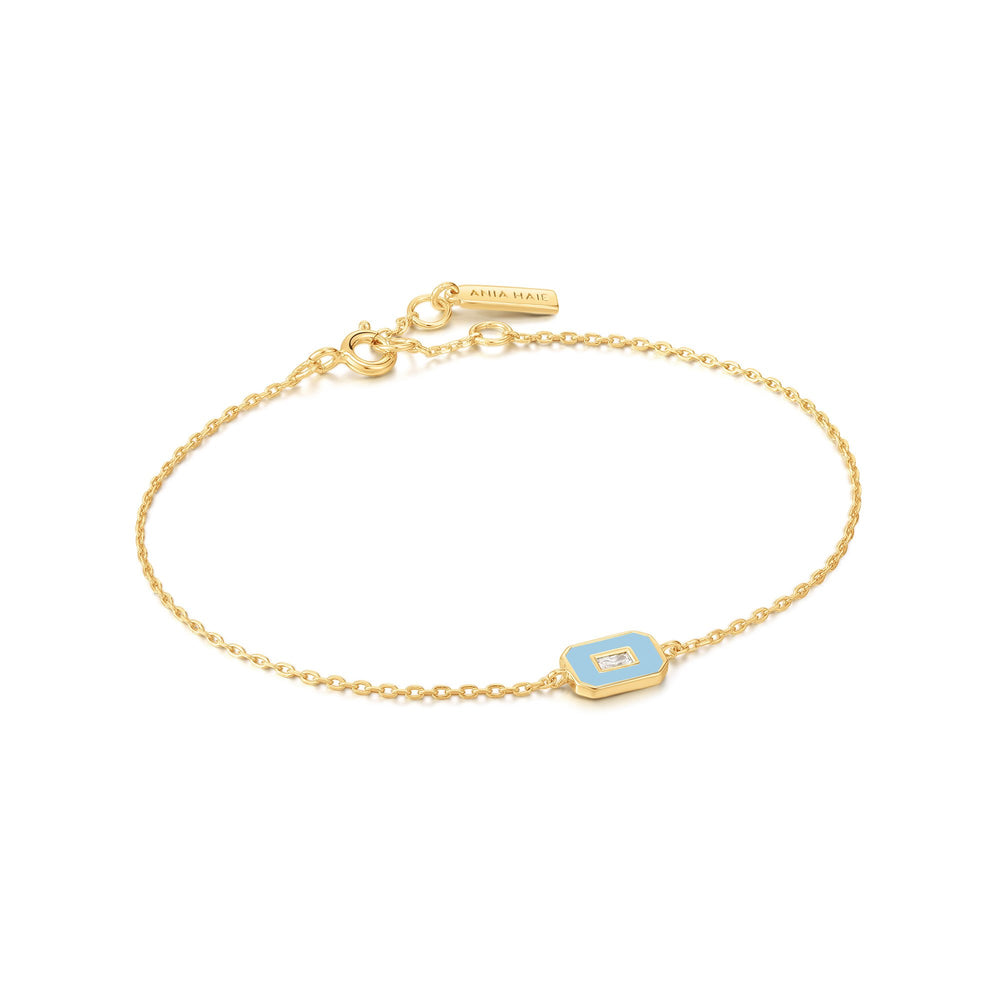 Powder Blue Enamel Emblem Gold Bracelet