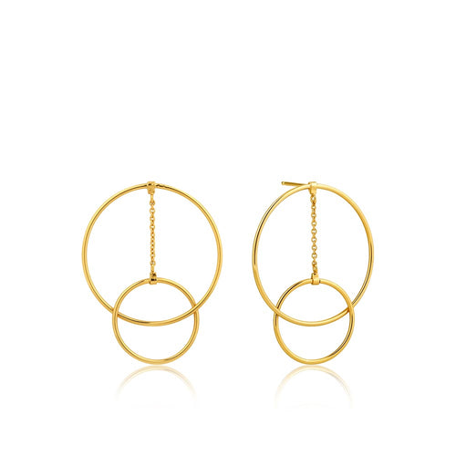 Earrings: Gold Modern Front Hoop Earrings by Ania Haie Australia