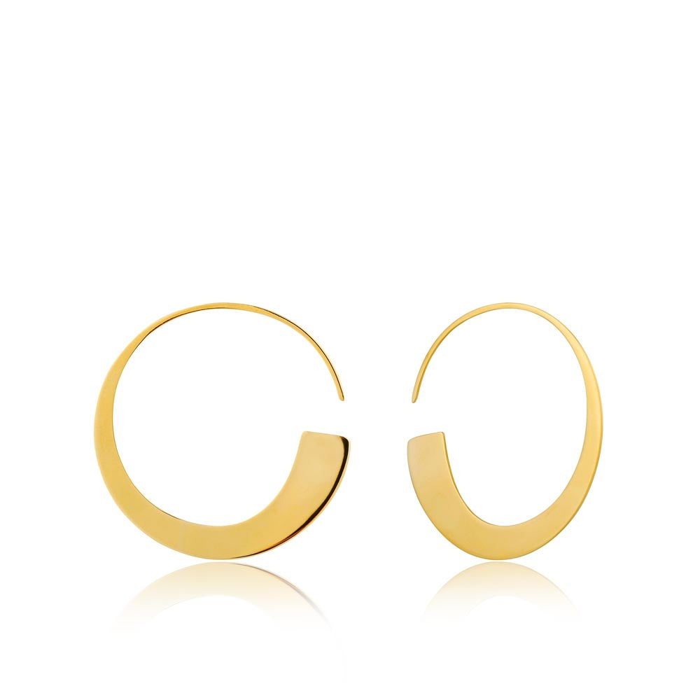 Earrings: Gold Geometry Slim Hoop Earrings by Ania Haie Australia