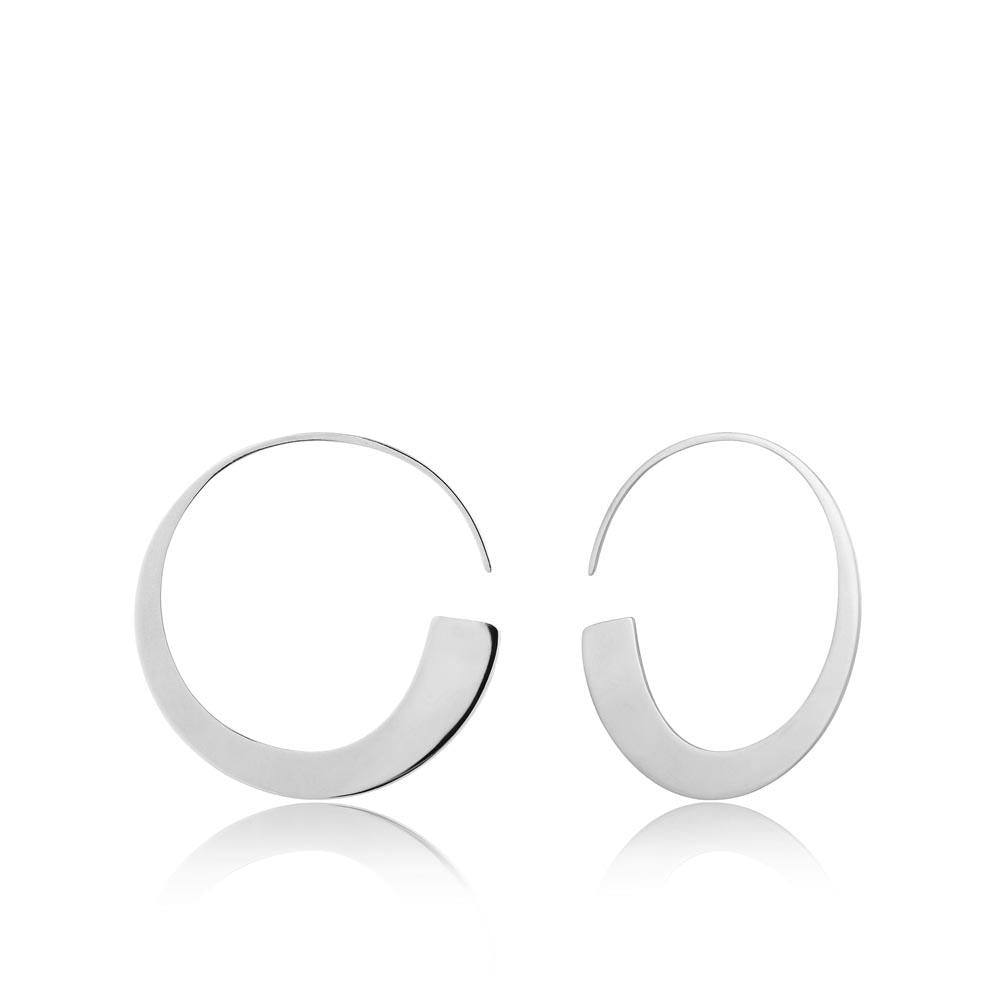 Silver Geometry Slim Hoop Earrings