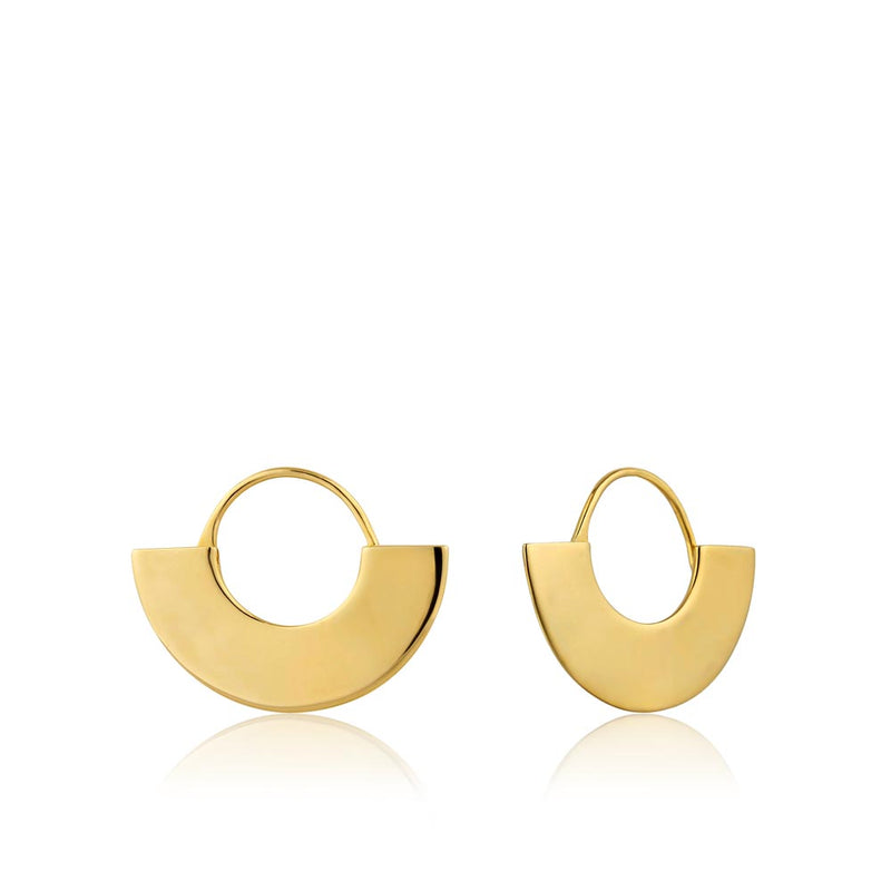 Earrings: Gold Geometry Fan Hoop Earrings by Ania Haie Australia